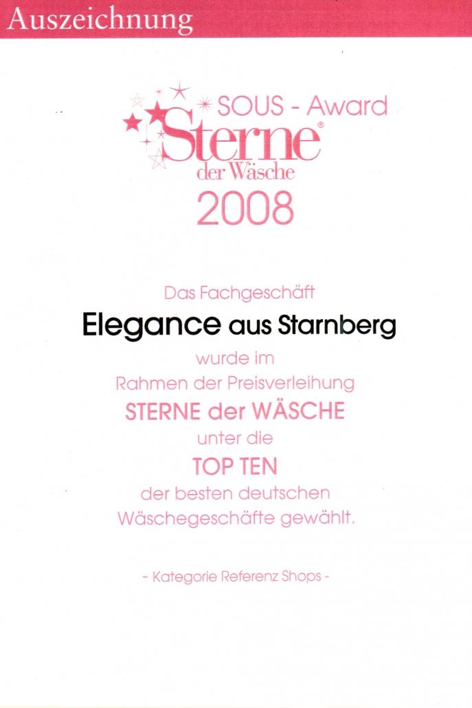 Auszeichnung Sterne der Wäsche 2008