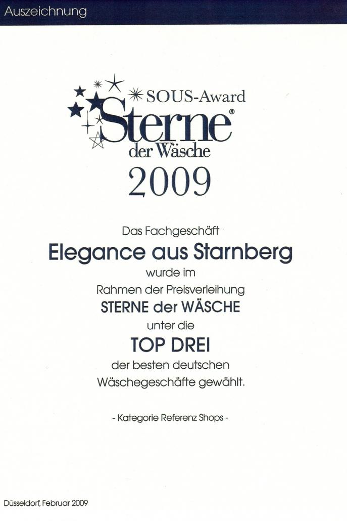 Auszeichnung Sterne der Wäsche 2009