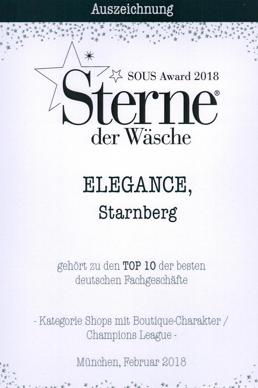 Auszeichnung Sterne der Wäsche 2018 für Elegance Feine Damenwäsche
